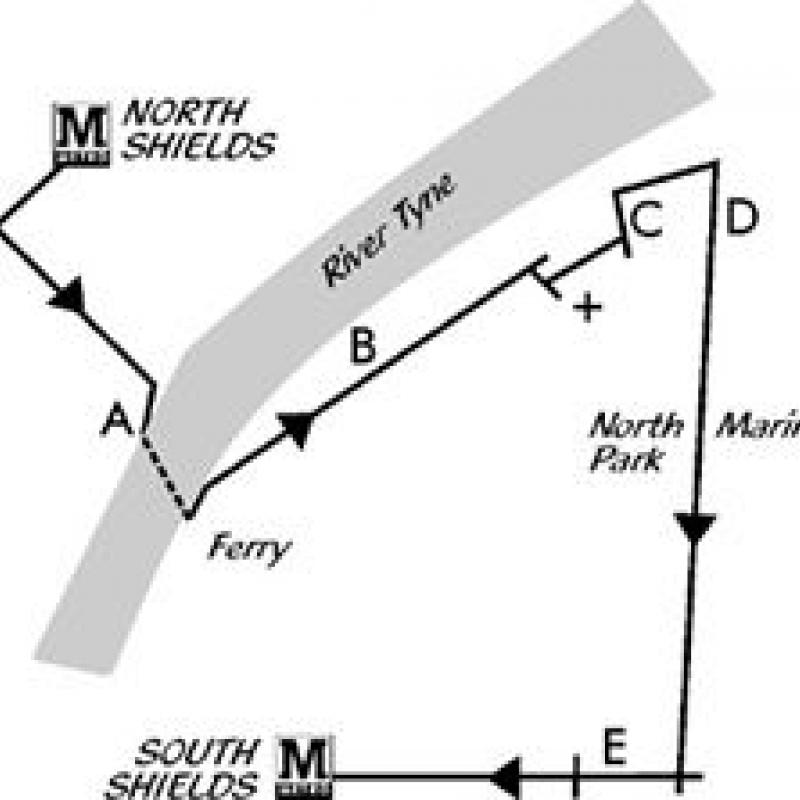 North Shields to Ferry to South Shields walk map