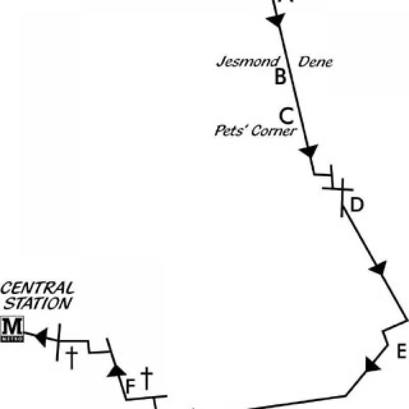 Illford Road to Central station walk map