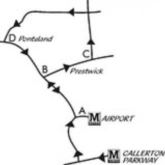 Callerton Parkway to Airport walk map