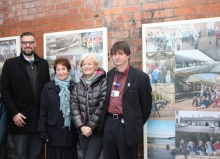 A photo of councillors with the art work