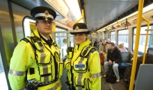 BT Police and Community Support Officers on Metro train