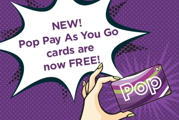 Pop card graphic with big free message