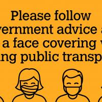 Graphic - follow Government advice and wear a face covering on public transport