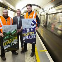 Metro staff at Haymarket Platform 2 promote Respect the Edhe campaign
