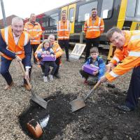 Burying the Metro 40th anniversary time capsule at the Gosforth Depot