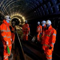 Photo of Metro workers in the city centre tunnel between Monument and Haymarket