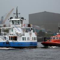 shields ferry and RNLI boat