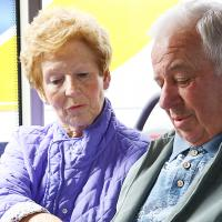 Elderly couple on a bus