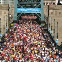 Great North runners on the Tyne Bridge