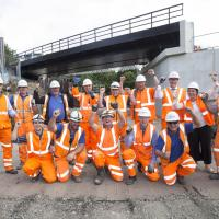 Staff and conytractors with the new Metro bridge at Killingworth Road