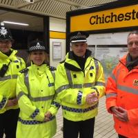 Police and staff at Chichester Metro station