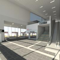 Artists image of new transport hub main entrance