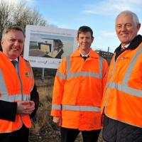 Cllr Iain Malcolm, Tobyn Hughes from Nexus and David Land from the LEP at the site where the new centre will be built