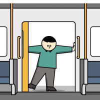 cartoon drawing of man on metro