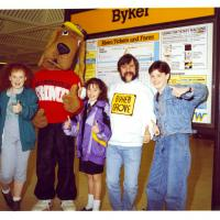 Cast of Byker Grove at Byker Metro station in 1991