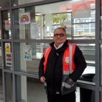 Area Controller Harry Hall with the rainbow art work at Park Lane Interchange