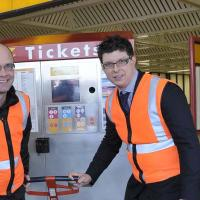 Councillors remove first of the old-style ticket machines.