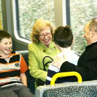 grandparents and grandchildren on metro