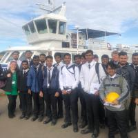 South Shields Marine School students at the ferry landing with Spirit of the Tyne