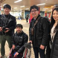 Taka Suzuki with the NHK news team at Gateshead Interchange