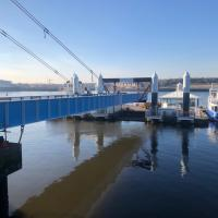 The South Shields Ferry landing bridge lifted out of the water