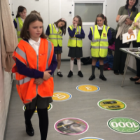 Pupils learning about Metro safety