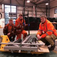 Metro apprentices at the Rail Academy with the Metrocar pantograph