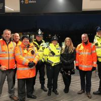 Metro staff and police at South Shields Metro station