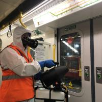 A Metro carriage is sprayed with anti-viral product