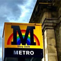 Metro cube at Central Station in Newcastle bearing its rainbow logo