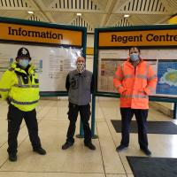 Staff and Police at Regent Centre Metro station