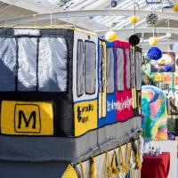 The knitted Metro train on display at Tynemouth station