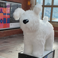 The Roodle snowdog sculpture at Whitley Bay Metro station