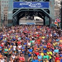 Thousands of Great North Runners on the Tyne Bridge iconic shot