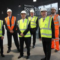 Leader, Chief Executive, Lead Member for Housing and Transport for South Tyneside Council, Nexus, Bowmer and Kirkland and Muse Developements inside South Shields Interchange