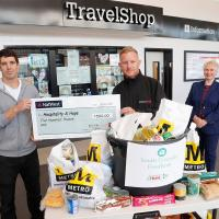 The food bank collection and cheque presentation at South Shields interchange