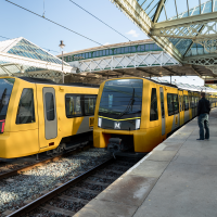 New yellow Metro train image at Tynemouth platform